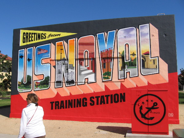 Greetings from U.S. Naval Training Center. A cool new mural at Liberty Station by artists Victor Ving and Lisa Beggs.