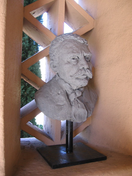 I spotted this bust in a nook while walking along the North Promenade. It was probably created in a nearby art studio. I could find no information.