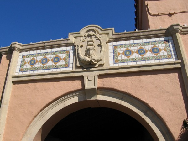 Decoration above an arch. I believe that is Cabrillo's ship San Salvador. He entered San Diego Bay not far from here.