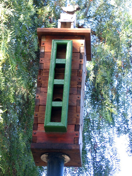 Bewick's Bunker. Birdhouse by artists Rafael Lopez and Daniel Renner.