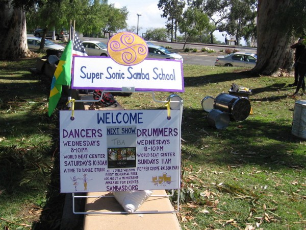The Super Sonic Samba School welcomes dancers and drummers at the World Beat Center and Pepper Grove in Balboa Park.