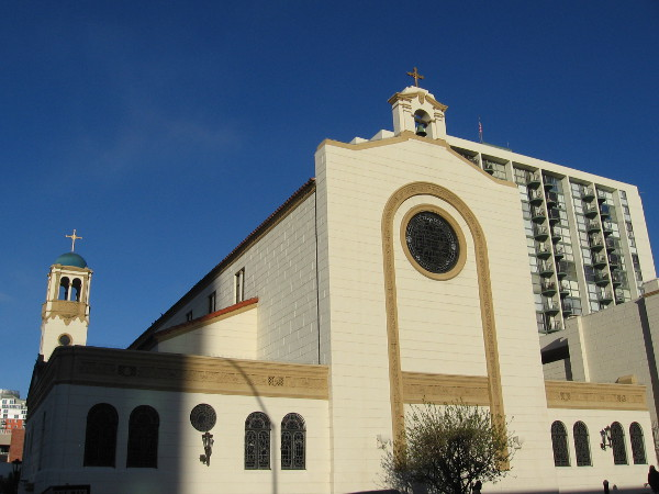 Early morning sunshine brightens the east side of St. Joseph Cathedral in downtown San Diego.