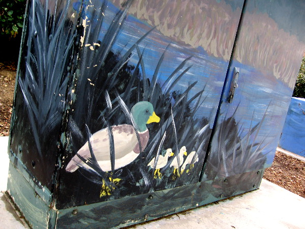 Street art shows a mallard and three ducklings in some grass near the San Diego River.