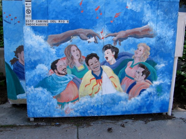 Musical street art near both First United Methodist Church of San Diego and St. Francis and St. Tarcicius Catholic Church. An imaginative glimpse of happiness and harmony in heaven.