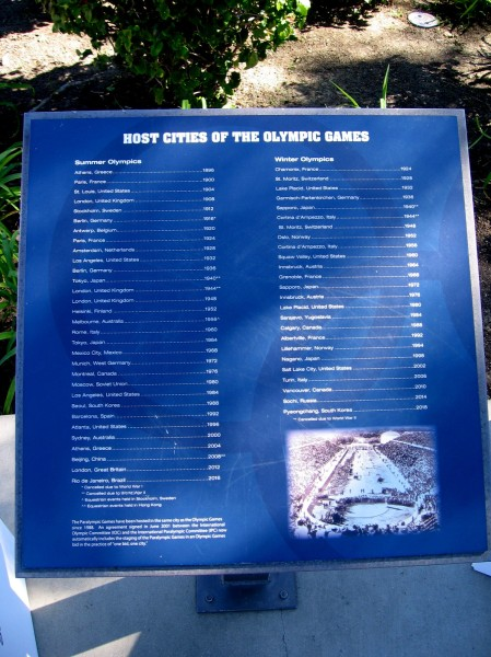 Several plaques were arranged around the courtyard. This one lists all the host cities of the Olympic Games--both Summer and Winter.