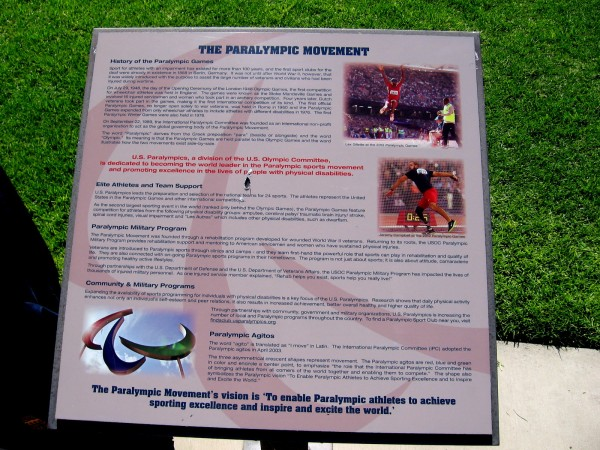 The history of the Paralympic movement is described on this sign. Sport for athletes with an impairment has existed for more than 100 years.