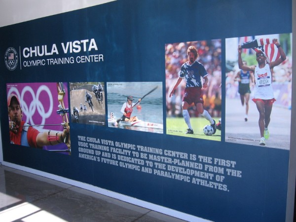 Huge graphics greet visitors inside the front door. The Chula Vista Olympic Training Center is dedicated to the development of America's future elite athletes.