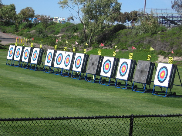 Outdoor archery targets in a row. Some of the world's greatest athletes take aim at these!