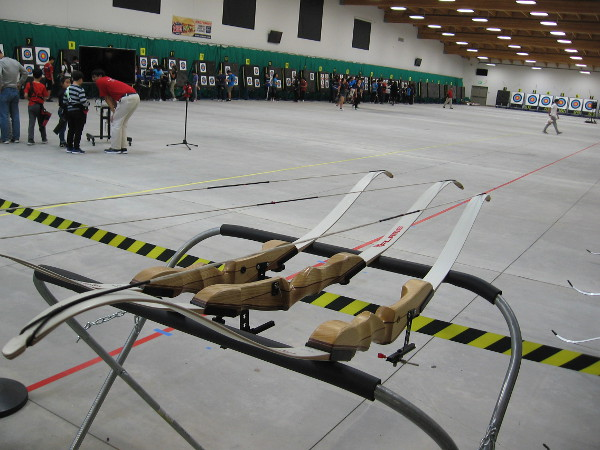 Bows await inside the immense indoor archery range at the Chula Vista Elite Athlete Training Center.