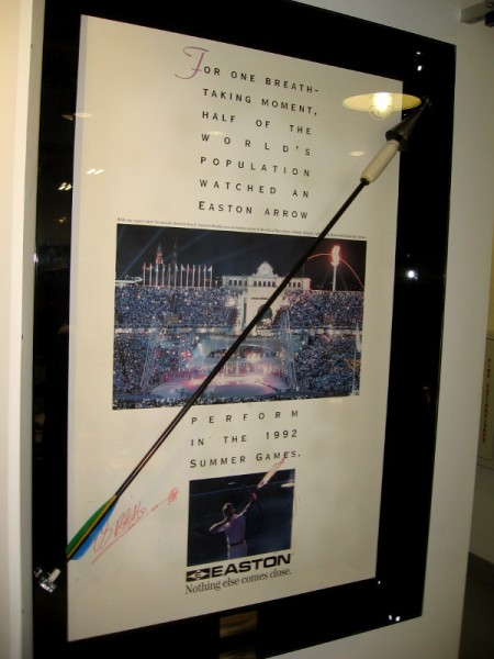 An Easton arrow flying through the air lit the Olympic flame in the 1992 Summer Games.