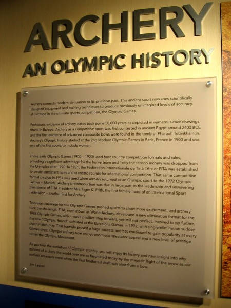 Along a corridor running the length of the Archery Center of Excellence are museum-like displays concerning archery during past Olympic Games. (Click image to enlarge.)