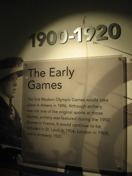 The first modern Olympic Games took place in Athens, Greece in 1896. Archery was featured in some of the early years.