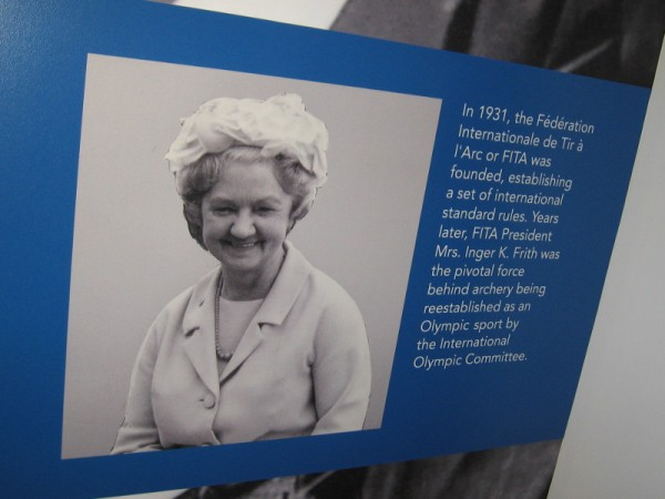 Photo of FITA President Mrs. Inger K. Frith who helped archery to become reestablished as an Olympic sport by the International Olympic Committee.
