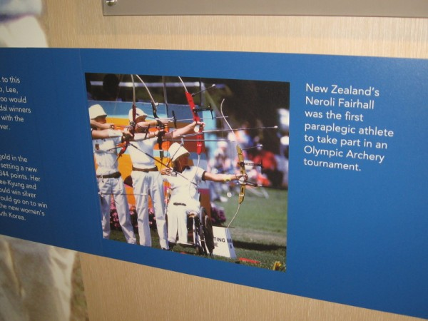 In 1984, at the Los Angeles games, New Zealand's Neroli Fairhall was the first paraplegic athlete to compete in Olympic archery.