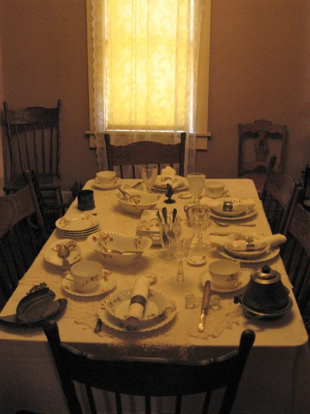 The dining table is set for a grand meal in New Town San Diego.