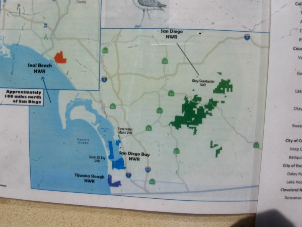 There are patchy wildlife refuges in some of San Diego County's undeveloped areas. This map shops where they are located. The Par 4 trailhead is near the top of the bigger green blob.