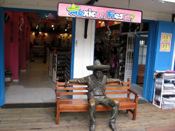 It's what meets you at the front door of Mexican Fiesta in Seaport Village that's out of the ordinary. A sculpture of a bandito sitting on a bench!