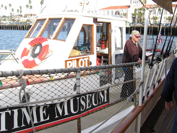 Ready to board the small Pilot boat, one of many historic vessels at the Maritime Museum of San Diego. We're going to enjoy a short harbor cruise!