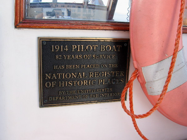 The 1914 Pilot Boat, with 82 years of service, has been placed on the National Register of Historic Places.