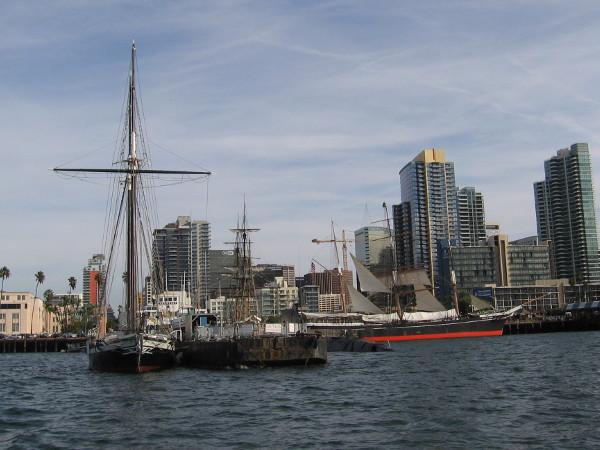 We've turned southward and pass the ships of the Maritime Museum. Some of San Diego's skyline is visible in this photo.
