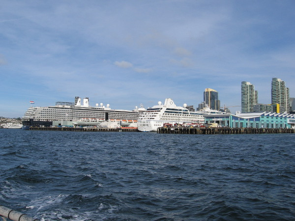 We're continuing south and now I see the second cruise ship by the Port Pavilion.