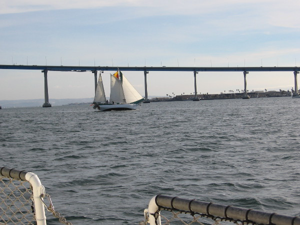 Looking south as we approach the Coronado Bay Bridge. Way off in the distance I see Mexico. Nearer, to the right, is a part of Coronado--the Naval Amphibious Base where Navy Seals train.