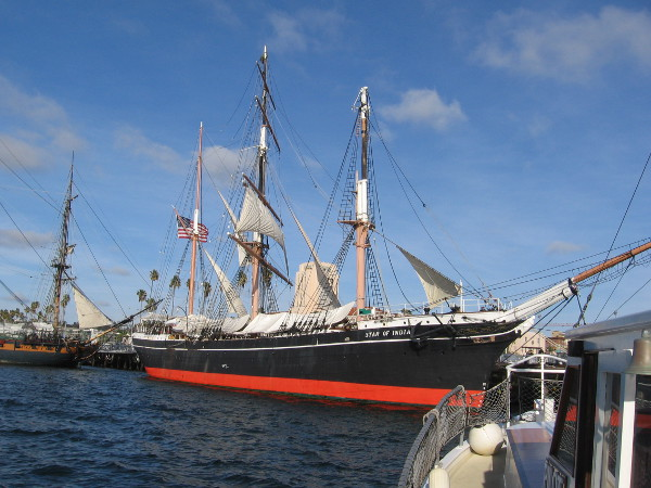 We've returned to the Maritime Museum of San Diego. There's the beautiful Star of India, oldest active sailing ship in the world, one of our city's prized gems.