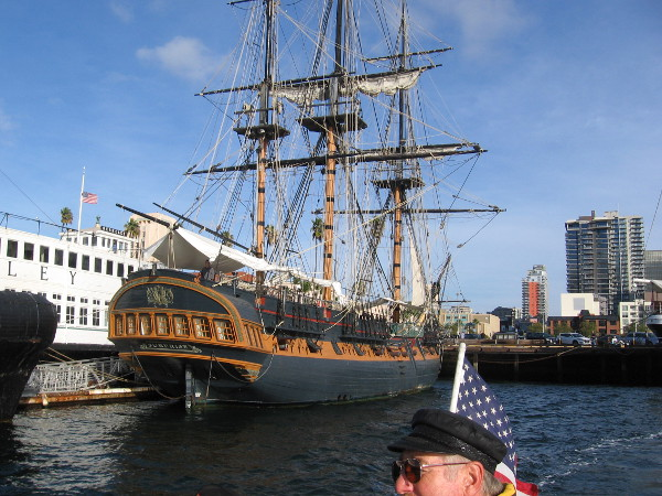 And here's HMS Surprise. If this replica Royal Navy frigate looks familiar, you might have seen Russell Crowe walking her decks in Master and Commander.