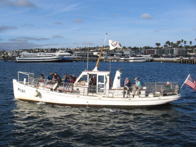 The small Pilot sets out across San Diego Bay on a tour of the harbor.