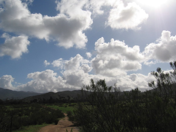 Dramatic white clouds in a blue sky. Natural beauty in San Diego's East County the day after a big storm.