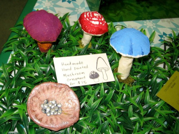 Colorful mushroom ornaments!