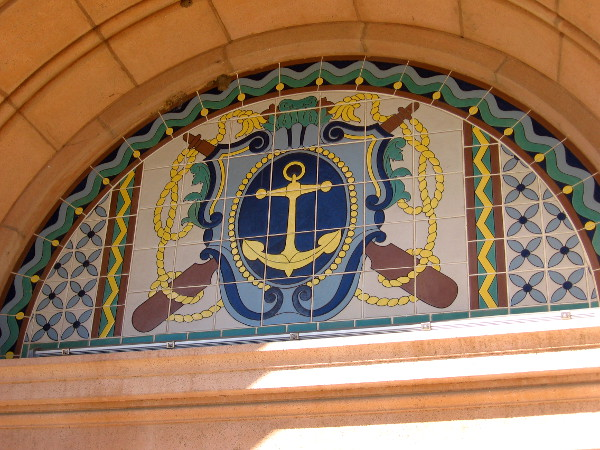 Nautical symbols above the front entrance to the Navy's old North Chapel at Liberty Station.