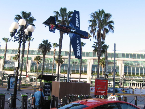 Look! Up in the sky! A Red Bull Air Race plane is about to buzz the San Diego Convention Center!