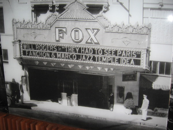 Old photograph in lobby of Symphony Towers shows the old downtown Fox Theatre, today's surprising home of the San Diego Symphony.