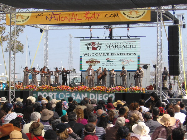 People watch the 5th Annual International Mariachi Festival in National City's Pepper Park.