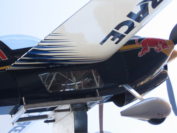 One can see some of the airplane's inner workings. There doesn't appear to be much room in the cockpit!