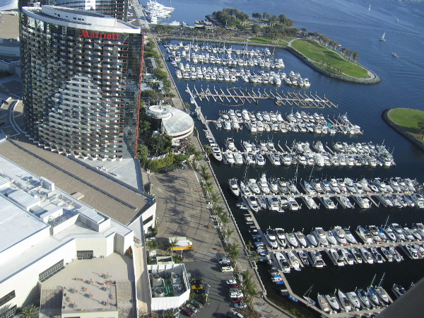 View from the Top of the Hyatt. The Marriot Marquis and Marina can be seen below, sparkling in the San Diego sunshine.