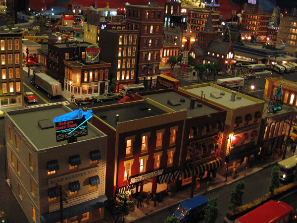 A jaw-dropping night scene in a huge model train layout in Old Town San Diego!