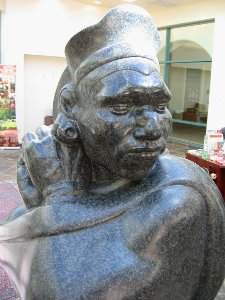 Face of iconic sculpture Aztec, presented to SDSU in 1937 by artist Donal Hord.