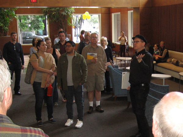 Guide from the San Diego Symphony provides some background before a behind-the-scenes tour of Copley Symphony Hall.