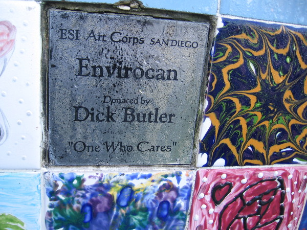 "ESI Art Corps San Diego. Envirocan, donated by Dick Butler. ""One Who Cares"""