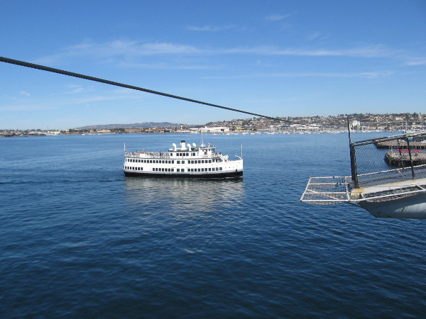 The Admiral Hornblower, beyond the second bridle-arrest horn, is heading in toward the Embarcadero after completing a harbor tour.