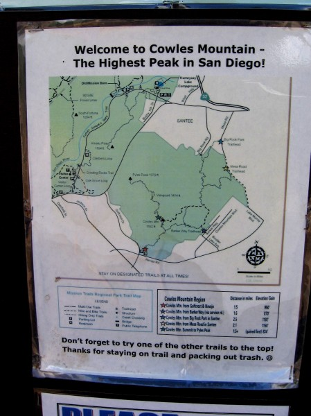 Map shows trails to the summit of Cowles Mountain in Mission Trails Regional Park, which is the largest municipal park in the state of California.