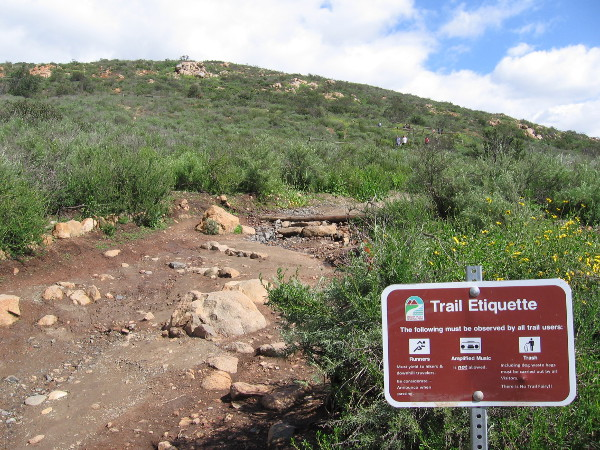 Sign near the trailhead. On a busy trail, etiquette should be observed to preserve the natural beauty and enhance experience of other hikers.