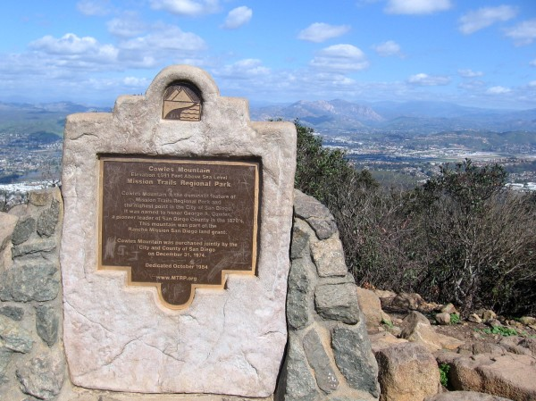 Plaque at the summit. Cowles Mountain is the dominant feature of Mission Trails Regional Park. It was named to honor George A. Cowles, a pioneer leader of San Diego County in the 1870's.