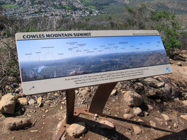 Sign shows sights from the south to the west, including distant Tijuana, Los Coronados Islands (which I could barely see), the Silver Strand, Point Loma, Mission Bay and Mount Soledad.