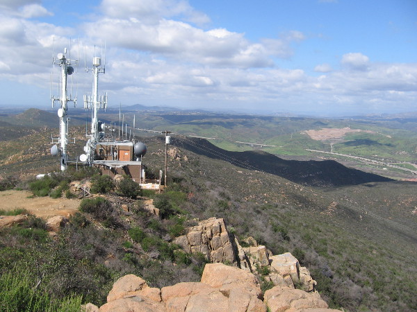 Looking north beyond the antenna station. Highway 52 below descends from Mission Trails Pass east into Santee.