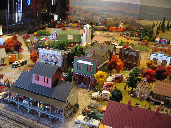 Many model buildings populate the O-Scale train layout. It's the same scale used by classic Lionel Trains.