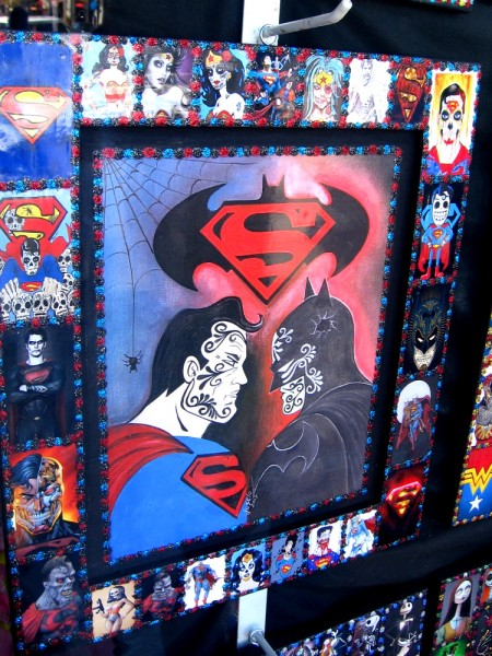 Day of the Dead (Día de los Muertos) art rendition of Justice League heroes, including Superman and Batman.