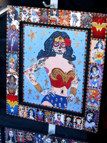 Day of the Dead (Día de los Muertos) art depicts DC Comics super-heroine Wonder Woman.